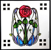 Static Window Clings in a Mackintosh Rose and Leaves Design