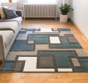 Uptown Squares Blue & Grey Modern Geometric Comfy Casual Hand Carved Area Rug 120 x 160 cm Easy to Clean Stain Resistant Abstract Boxes Contemporary Thick Soft Plush Living Dining Room