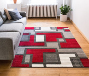 Uptown Squares Red & Grey Modern Geometric Comfy Casual Hand Carved Area Rug 160 x 220 cm Easy to Clean Stain Fade Resistant Abstract Boxes Contemporary Thick Soft Plush Living Dining Room Rug