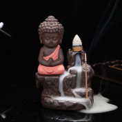 Backflow Incense Burner,Little Monk Buddha Design Ceramic Backflow Incense Holder,Incense Smoke Cone Burner Backflow Censer Tower Holder Creative Censer Backflow Incense Burner Home Office Decoration