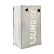 Decdeal Practical Foldable Laundry Bag ,Washing Dirty Clothes Laundry Basket Durable Storage Bag with Alloy Handle