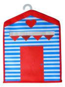 Colourful Beach Hut Design Peg Bag 34X28cm With Hanger