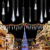 LED Meteor Shower Solar Lights Garden,KINGCOO Waterproof Falling Raindrop Cascading Decorative String Lights with 30cm 10 Tubes 360LEDs for Holiday Party Wedding Christmas Tree Decoration