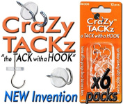 CraZy TACKz 72 tacks - 2 in 1 push pin + thumb tack + cup hook - Decorate, Organise & Hang 1000's of Items at Home, School, Office like Keys, Posters, Sunglasses, Wires - 6 separate packs w 12 each.