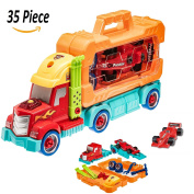 Prextex 35 Piece Take-A-Part Do It Yourself Truck Carrier Tool Box with Racing Car And Realistic Lights and Sounds Great Toy For Boys And Girls Christmas Gift