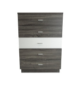 MB9306 Smart Home Glossy White & Distressed Grey 5 Drawer Chest Dresser