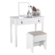 gootrades Vanity Makeup Table Set,90cm Flip Top Mirrored Dressing Desk 2 Drawers 3 Removable Organisers,Makeup Table Stool Set,White