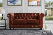 Classic Scroll Arm Real Italian Leather Chesterfield Love Seat