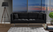 Divano Roma Furniture Collection - Modern Plush Tufted Velvet Fabric Splitback Living Room Sleeper Futon