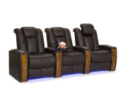 Seatcraft Monaco Leather Home Theatre Seating Power Recline with Adjustable Powered Headrests and Built-In SoundShaker
