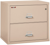 Fireking Fireproof Lateral File Cabinet (2 Drawers, Impact Resistant, Waterproof), 70cm H x 80cm W x 60cm D, Champagne