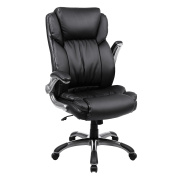 SONGMICS Extra Big Office Chair High Back Executive Chair with Thick Seat and Tilt Function PU Leather Black UOBG94BK