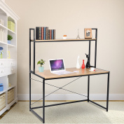 WOLTU Solid Wood Computer Desk for Home Office Use with Long Shelves for Book Storage