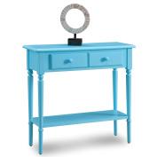 Leick 20027-BL Coastal Narrow Hall Stand/Sofa Table with Shelf, Regatta Blue