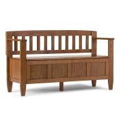 Simpli Home Brooklyn Solid Wood Entryway Storage Bench, Medium Saddle Brown