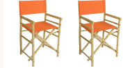 Phat Tommy Indoor and Outdoor Foldable Set of 2 Bamboo Directors Chairs –for Backyard, Garden and Patio