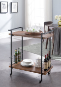 Vintage Dark Brown / Black Metal Bar Tea Wine Holder Serving Cart