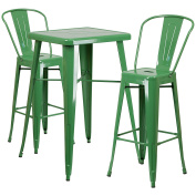 Flash Furniture 60cm Square Green Metal Indoor-Outdoor Bar Table Set with 2 Stools with Backs