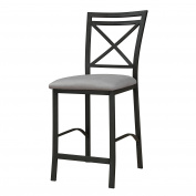 Dorel Living Devon Crossback Counter Height Padded Metal Dining Chair, Black Coffee, Grey Cushion