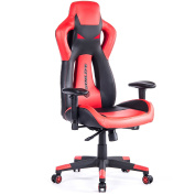 SimLife Executive Gaming Racing Swivel Chair, High Back with Lumbar Support & Headrest, Perfect for Office Home or Gaming, Red PU Leather