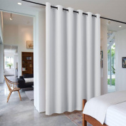 Sliding Door Curtains Room Divider - RYB HOME Heavy Duty Portable Decorative Screen Share Space Partiton Drape for Patio Door / Clinic / Hospital / Office, W 10 x L 2.4m, Greyish White, 1 Panel