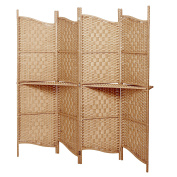 Freestanding Brown Wood & Woven Paper Rattan Room Divider / 4 Panel Screen w/ Removeable Display Shelves