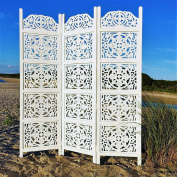The Heritage Home Farmhouse Room Divider, Vintage Style Magnolia Medallions, Handcrafted of Sustainable Mango Wood, Rustic White, Distressed Finish, 1.8m Tall (180cm x 150cm ) By Whole House Worlds