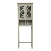 Glitzhome Wooden Free Standing Storage Cabinet with Glass Double Doors, Grey