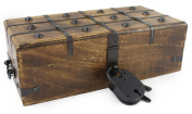 Wooden Treasure Chest Decorative Box Trunk Antique Style Lock Iron Skeleton Key By WellPackBox 12 x 6 x 4