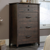 Sauder Carson Forge 4 Drawer Chest in Coffee Oak