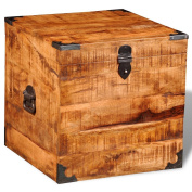Festnight Square Rough Mango Wood Chest Storage Box