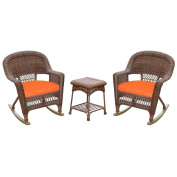 Jeco W00205R-C_2-RCES016 3 Piece Rocker Wicker Chair Set with Orange Cushion, Honey
