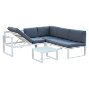 Outsunny 4pc Adjustable Aluminium Outdoor Sectional Patio Furniture Set