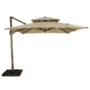 Abba Patio 9 by 0.8sqm Offset Cantilever Umbrella Patio Hanging Umbrella with Dual Wind Vent, Cross Base and Umbrella Cover, Beige