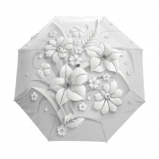 Full 3D Floral Guarda Chuva White Chinese Sun Umbrella 3 Folding Umbrella Rain Women Anti UV Outdoor Travel Sombrinha