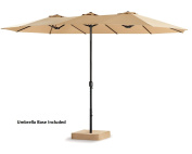 Patio Tree 4.6m Double-Sided Outdoor Market Umbrella 12 Ribs, Crank System, 100% Polyester, Base Included