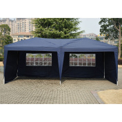 Outsunny 3m x 6.1m Easy Pop Up Canopy Party Tent - Navy Blue w/ 4 Removable Sidewalls