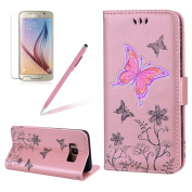 Flip Wallet Case for Samsung Galaxy S8, Girlyard Glitter [Flower Butterfly] Embossed Premium PU Leather Wallet Book Design Magnet Flip Cover with Card Slot Holder Shock-Absorption Scratch-Resistant Full Body Protective Case for Samsung Galaxy S8-Rose Gold
