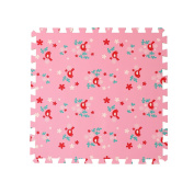 4 Large Children's Pink Foam Play Mats with Edges – 4 Large Soft Interlocking Floor Mats with Bird Pattern for Children. Each tile is 60 x 60cms = 1.2m2
