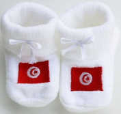 Happy Baby Baby Booties Embroidered Flag of Tunisia White 0/3mois