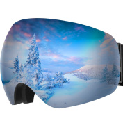 Ski Goggles, OMorc Anti-fog 100%UV400 Protection OTG Over Glasses Snowboarding Goggles, 180°Super-wide Angle Big Spherical Dual-layer Lens Snowmobile Ski Glasses for Men and Women