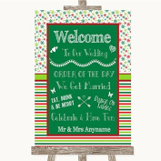 Red & Green Winter Wedding Sign Collection Red & Green Winter Welcome Order Of The Day Wedding Sign