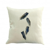 Inverlee Feather Painting Linen Cushion Cover Throw Pillow Case Sofa Home Decor