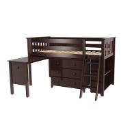 Max & Lily Solid Wood Twin-Size Storage Loft Bed with Dresser, Bookcase and Desk, Espresso