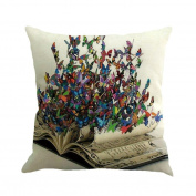 Pillow Cases,Lavany Pillow Covers Butterfly Painting Linen Pillowcases Cushion Sofa Home Decorative