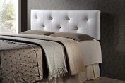 Contemporary Full Size Headboard in White PU Leather