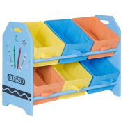 Costzon Kids Toy Organiser with 6 Multi-Colour Storage Bins