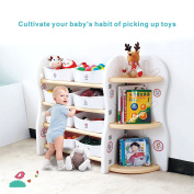 Toy Storage Organiser For Kids Collection Rack of Children Deluxe Plastic Shelves Frame Sundries with 8 storage Bins