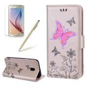 Flip Wallet Case for Samsung Galaxy J7 2017/J730, Girlyard Glitter [Flower Butterfly] Embossed Premium PU Leather Wallet Book Design Magnet Flip Cover with Card Slot Holder Shock-Absorption Scratch-Resistant Full Body Protective Case for Samsung Galaxy ..