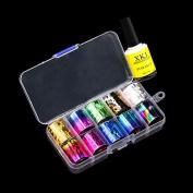 DRESS® Nail Art Transfer Foil 15/10 Colours Sticker For Nail Tip Decoration & Star Glue Set